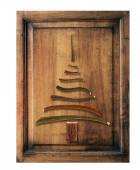 Old wood  with christmas tree — Stock Photo