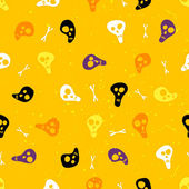 Halloween seamless pattern with skulls and bones. — Stock Vector