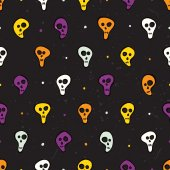 Halloween seamless pattern with skulls and bones. — Stock vektor