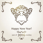 Greeting New Year card with monkey - symbol of the year — Stock Vector
