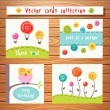 Vector cards collection with cute buttons. Perfect for baby shower, birthday and other events. — Stock Vector #73604461