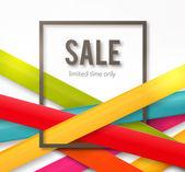Sprzedaż tło z ramki i kolorowe wstążki — Wektor stockowy
