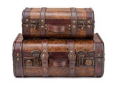 Two Old Suitcases Stacked — Stock Photo