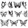 Vector set black and white butterflies — Stock Vector #60536345