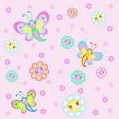 Children's background with pretty butterflies — Stock Vector