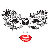Woman face in a mask of flowers and butterflies. — Stock Vector