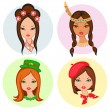 Four isolated portrait of little girls from different ethnic gro — Stock Vector #60541073