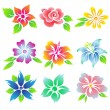 Beautiful flowers icon set. — Stock Vector #60542693