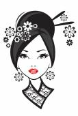 Black and white illustration of elegant Japanese woman.  — Stock Vector
