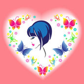 Woman's face in the frame in the shape of a heart with butterfli — Stock Vector