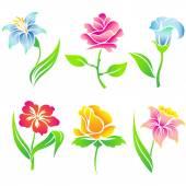 Beautiful  flowers  icon  set. — Stock Vector