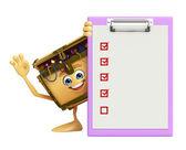 Treasure box character with notepad — Foto de Stock