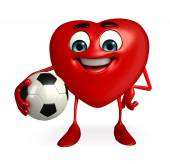 Heart Shape character with foot ball — Zdjęcie stockowe