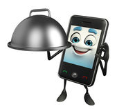 Mobile character with cooking pot — Stok fotoğraf