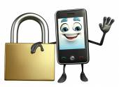Mobile character with lock — Foto Stock