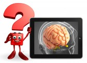 Question Mark character with brain anatomy — Stock Photo