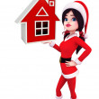 Santa Girl Character with house sign — Stock Photo #52404723