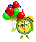 Table clock character with balloons — Stock Photo