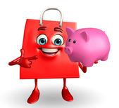 Shoppingväska karaktär med spargris — Stockfoto