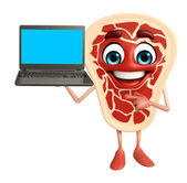 Meat steak character with Laptop — Stock Photo
