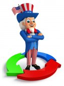 Uncle Sam with business graph — Photo