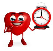Heart Shape character with clock — Stock Photo