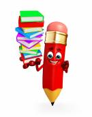 Pencil Character with Books pile  — Stock Photo
