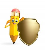 Pencil Character with shield — Stock Photo