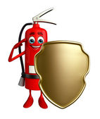 Fire Extinguisher character with shield — Foto Stock