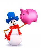 Snowman character with piggy bank — Photo