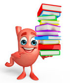 Cartoon Character of stomach with pile of books — Stock Photo
