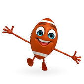 Rubgy ball character with running pose — Stock Photo