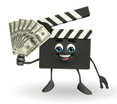 Clapper Board Character with dollars — Stock Photo