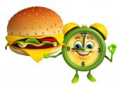 Table clock character with burger — Foto Stock