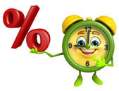 Table clock character with percent sign — Foto Stock