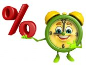 Table clock character with percent sign — Stock Photo