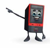 Computer Cabinet Character with pointing pose — Stok fotoğraf