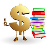 Dollar Character with  pile of books — Stock Photo