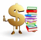 δολάριο χαρακτήρα με το σωρό των βιβλίων — Φωτογραφία Αρχείου