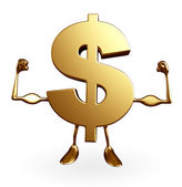 Dollar Character with body building pose — Stock Photo