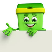 Dustbin Character with sign — Stock Photo