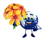 Globe Character with flower   — Stock Photo