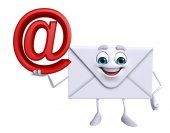 Mail Character with at the rate sign — Stock Photo