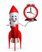 Rocket character with table clock — Stock Photo