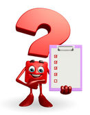 Question Mark character with notepad — Stock Photo