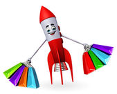 Rocket character with shopping bags — Stok fotoğraf
