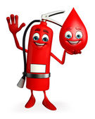 Fire Extinguisher character with blood drop — Foto Stock