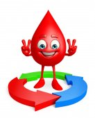 Blood Drop Character with arrow — Stock Photo