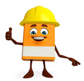Book Character with worker hat — Stock Photo