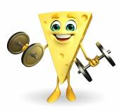 Cheese Character with dumbells — Stock Photo